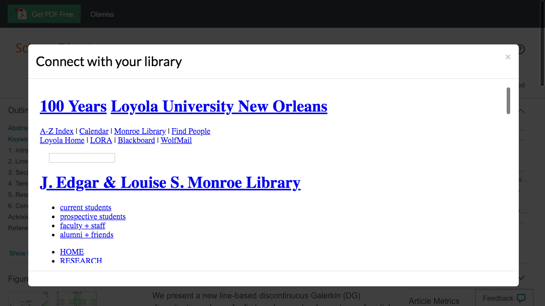 Enter Loyola University New Orleans credentials to access journal subscriptions.