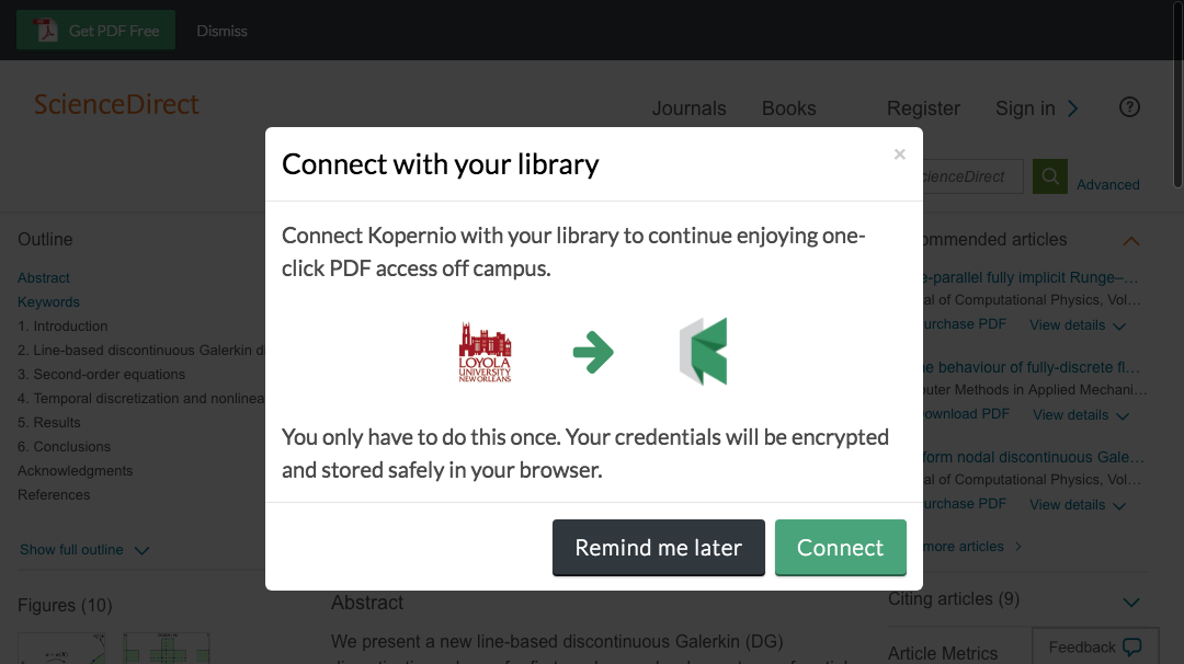 Connect to library prompt for off-campus access to Loyola University New Orleans e-resources.