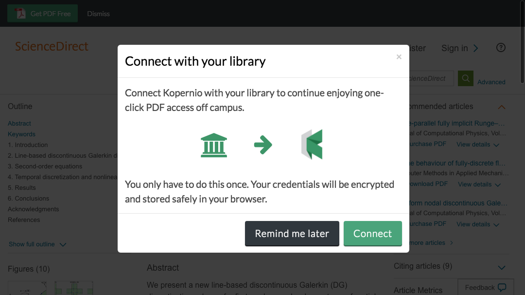 Connect to library prompt for off-campus access to Middle Tennessee State University e-resources.