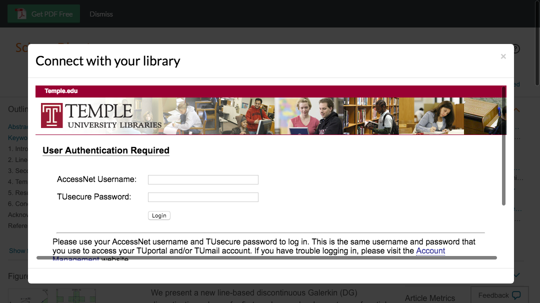Enter Temple University credentials to access journal subscriptions.