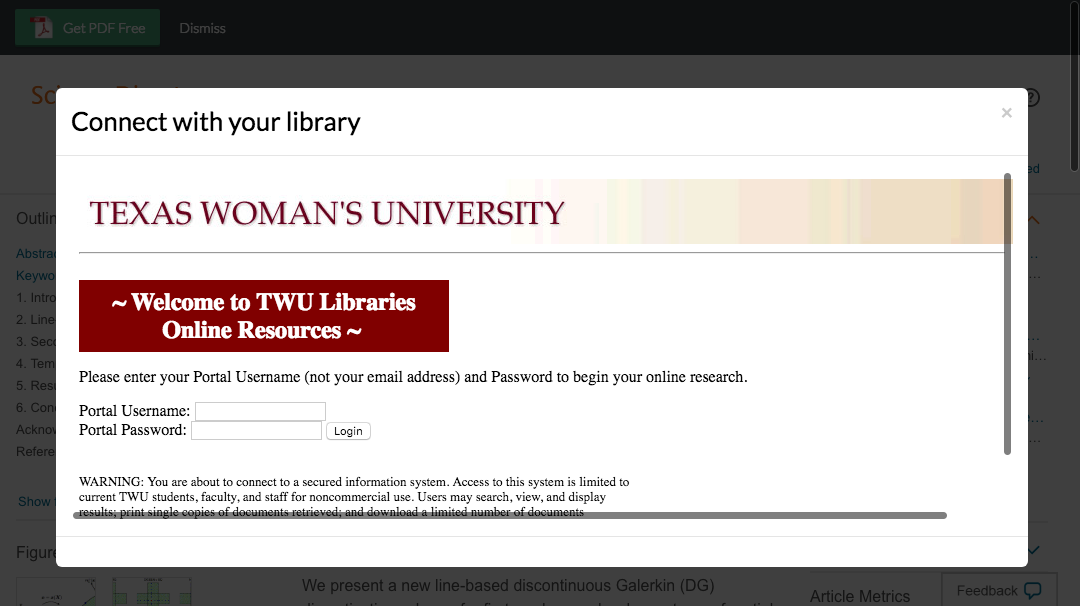 Enter Texas Woman's University credentials to access journal subscriptions.