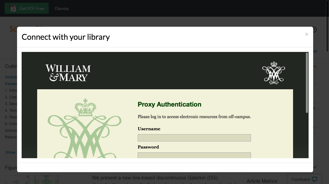 Enter College of William & Mary credentials to access journal subscriptions.