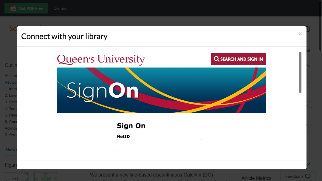 Enter Queen's University credentials to access journal subscriptions.