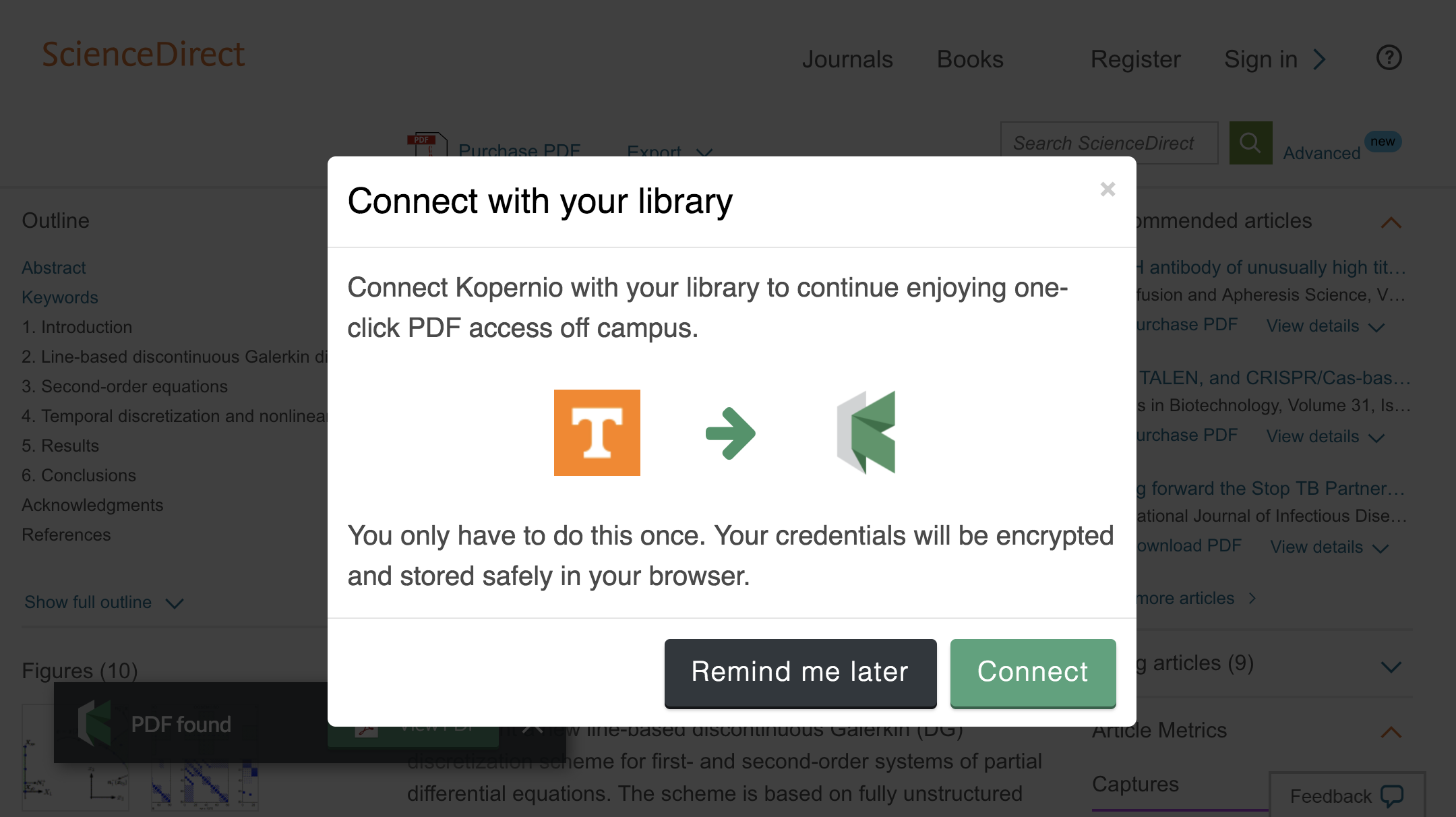 Connect to library prompt for off-campus access to University of Tennessee at Knoxville e-resources.