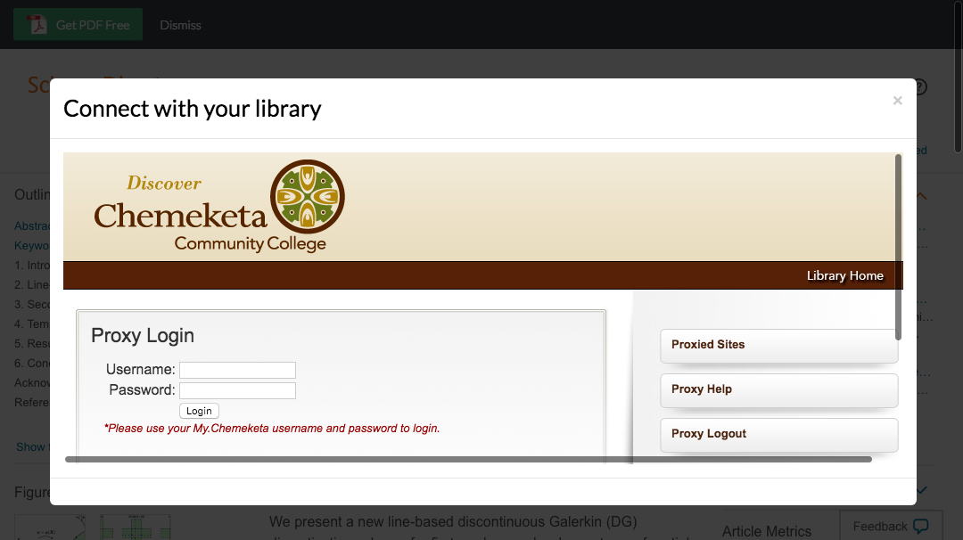 Enter Chemeketa Community College credentials to access journal subscriptions.