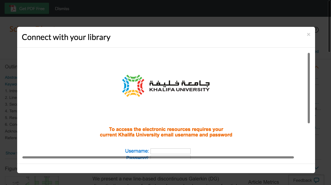 Enter Khalifa University credentials to access journal subscriptions.