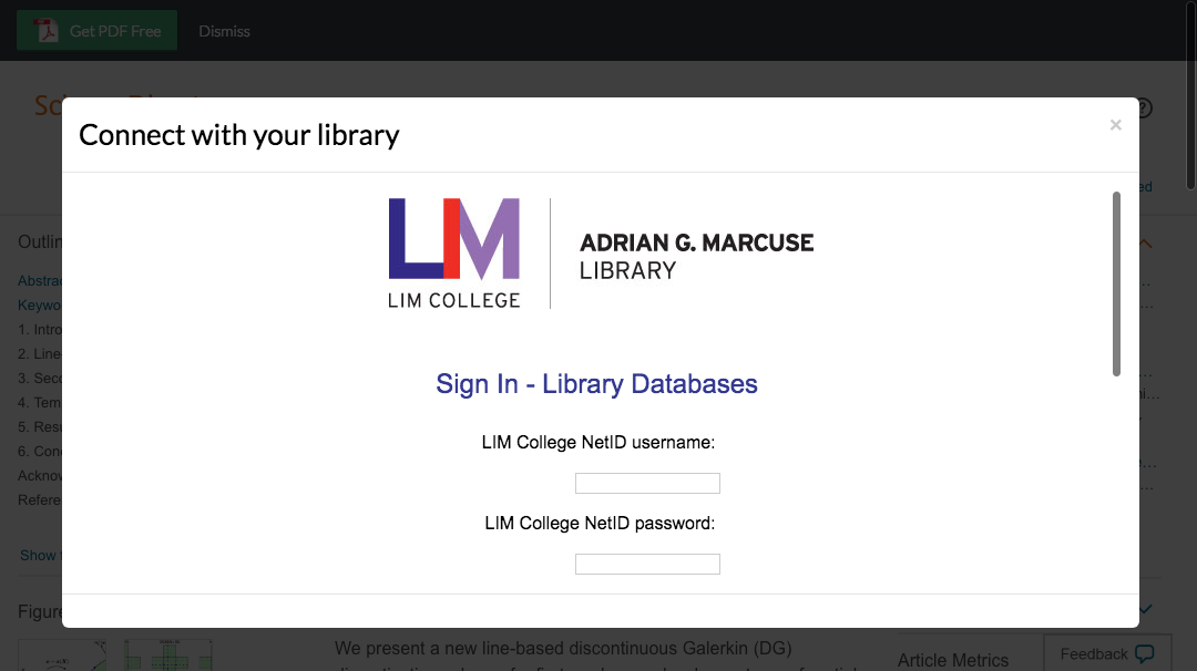 Enter LIM College credentials to access journal subscriptions.