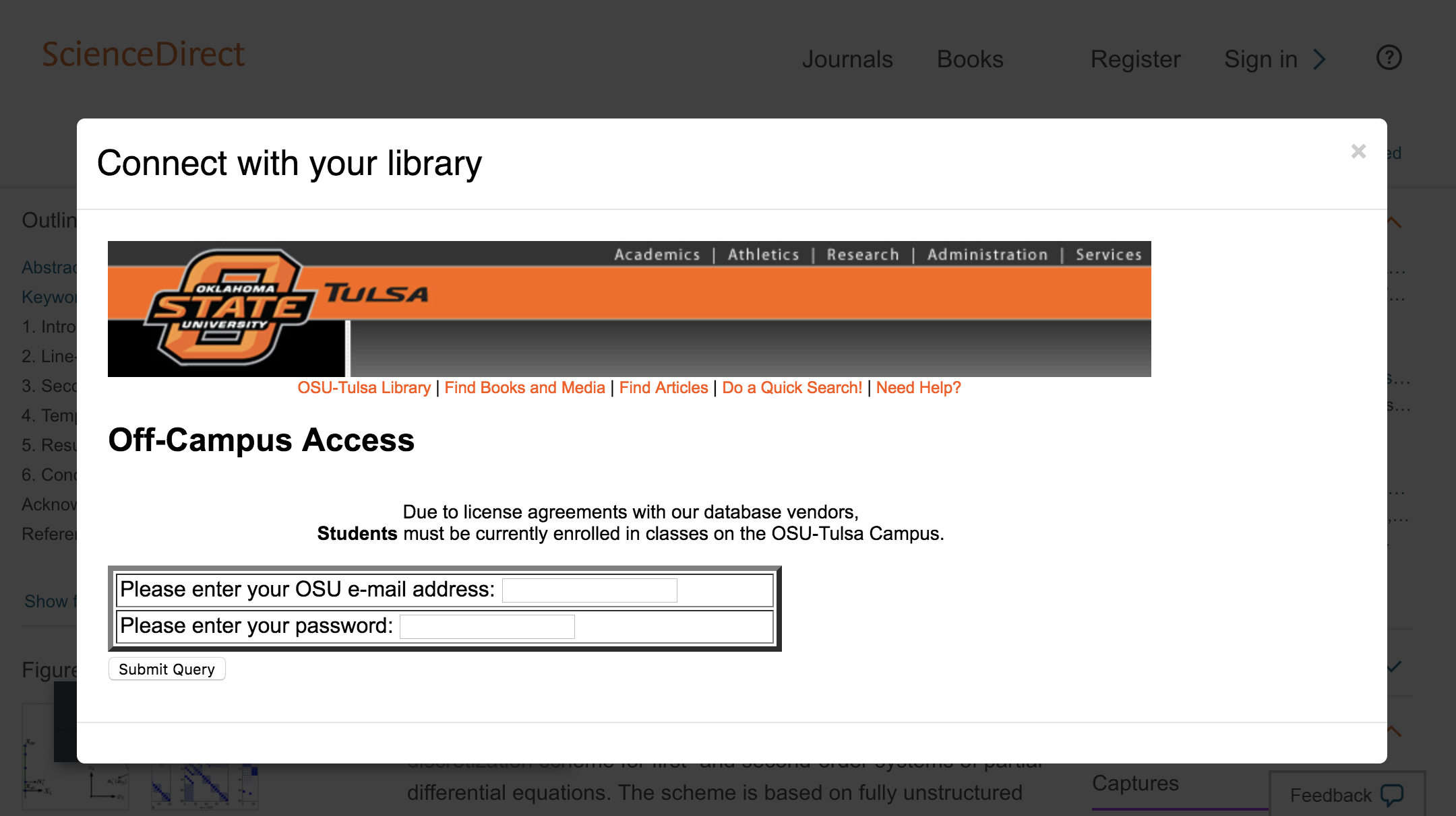 Enter Oklahoma State University at Tulsa credentials to access journal subscriptions.