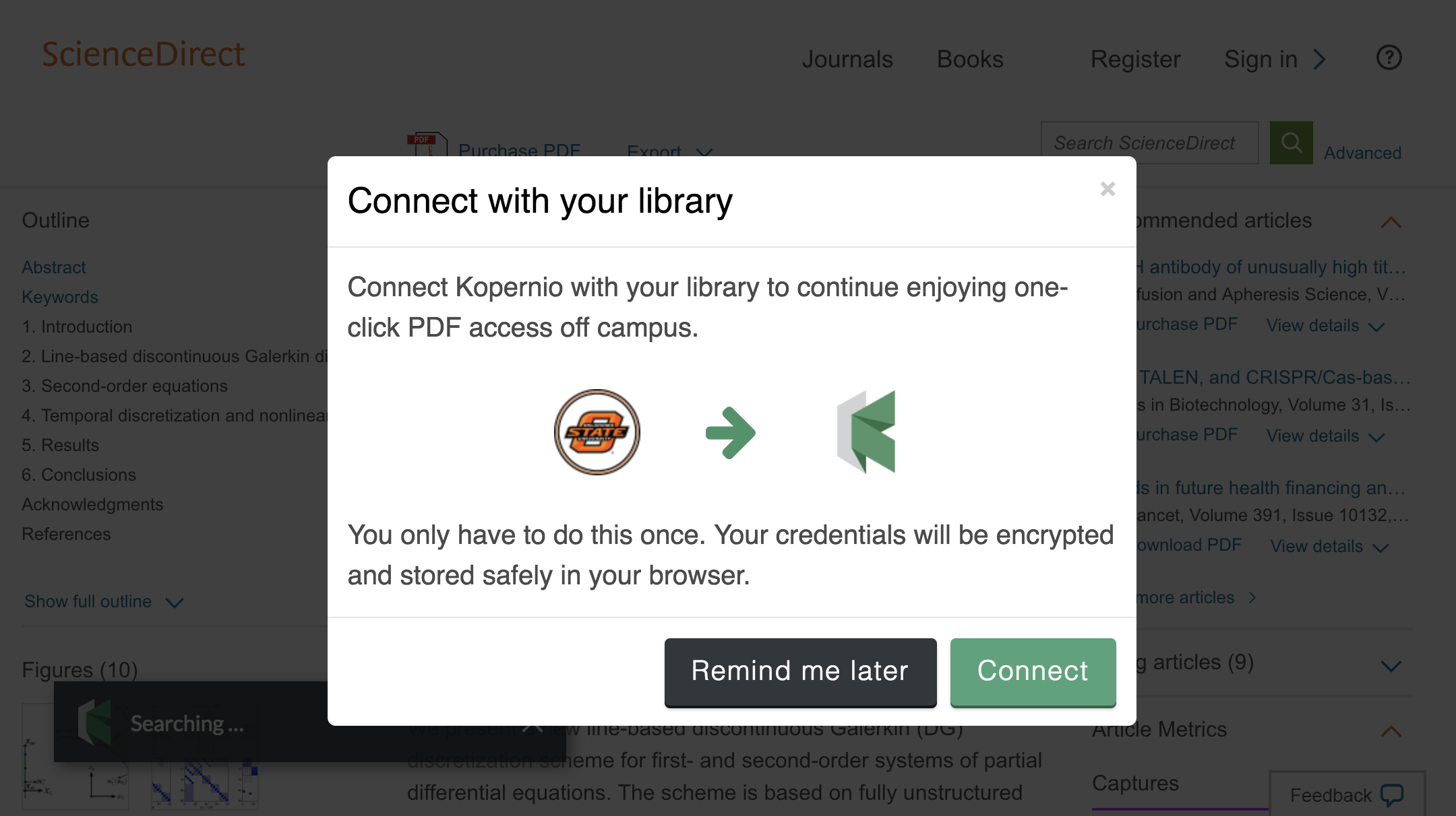 Connect to library prompt for off-campus access to Oklahoma State University at Tulsa e-resources.