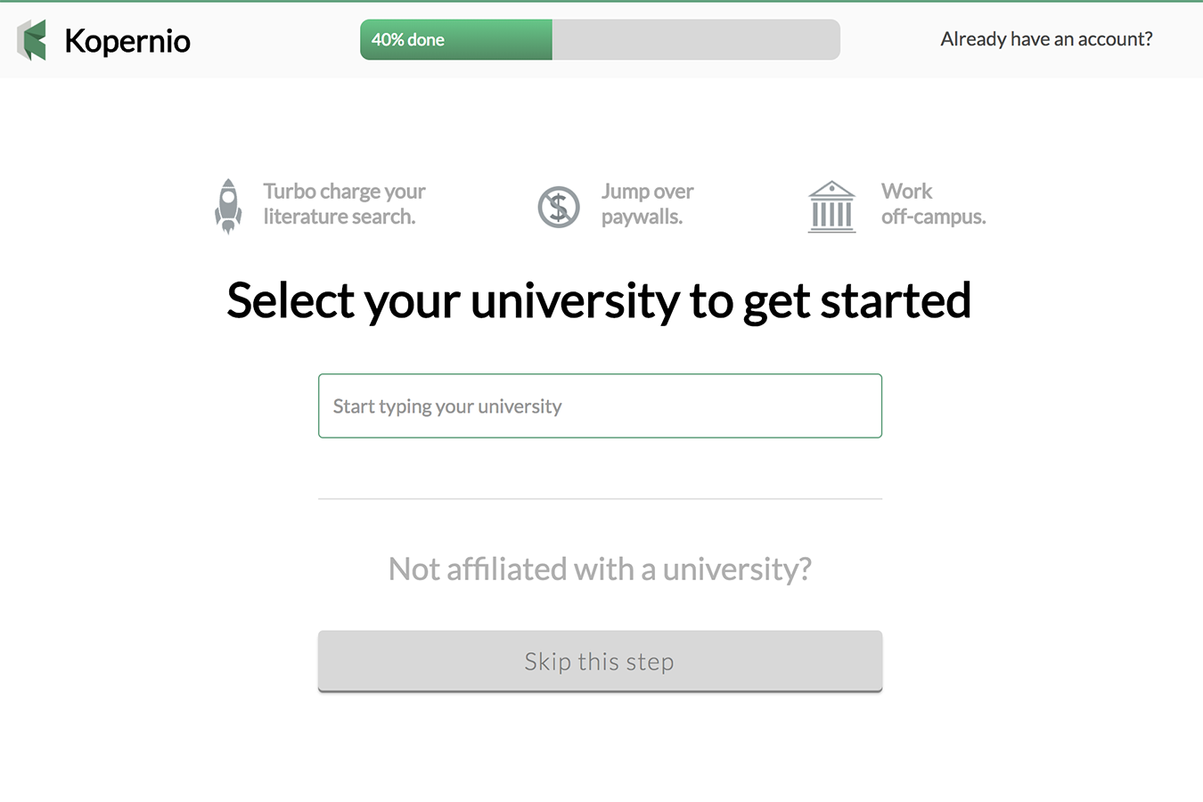 Select your institution from the menu after registration.